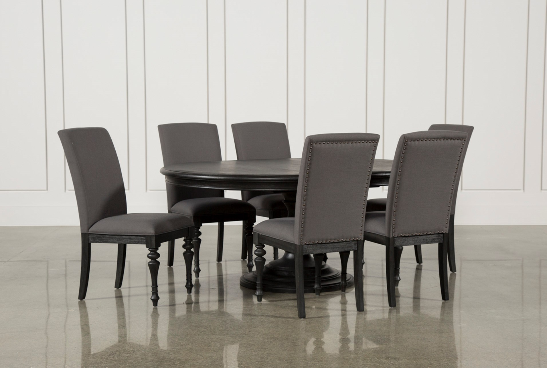 Caira Black 7 Piece Dining Set W/Upholstered Side Chairs | Living Spaces