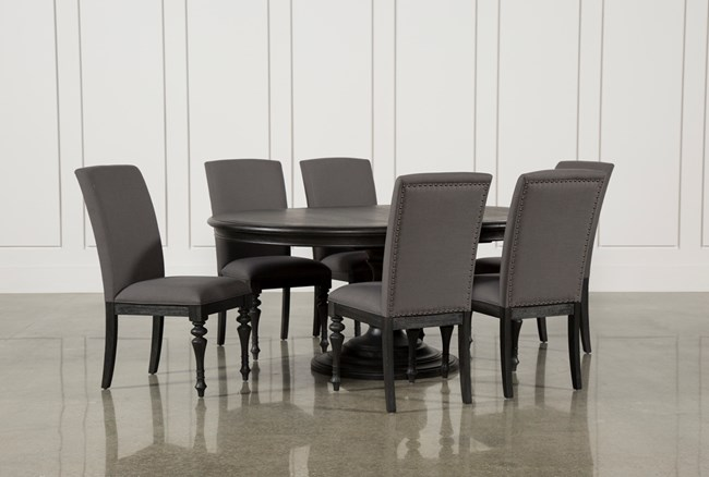 Caira Black 7 Piece Dining Set W/Upholstered Side Chairs - 360