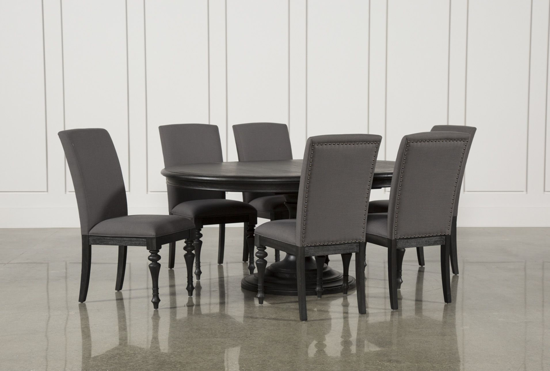 Awesome Display Product Reviews For KIT CAIRA BLACK 7 PIECE DINING SET  W/UPHOLSTERED SIDE