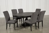 Caira Black 7 Piece Dining Set W/Upholstered Side Chairs - Top