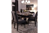 Caira Black 7 Piece Dining Set W/Upholstered Side Chairs - Room