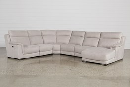 Kerwin Silver Grey 6 Piece Power Reclining Sectional W/Raf Chaise
