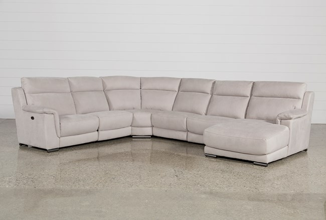 Kerwin Silver Grey 6 Piece Power Reclining Sectional W/Raf Chaise - 360