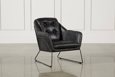 Ebony Leather & Metal Accent Chair