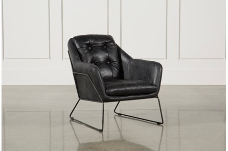Ebony Leather & Metal Accent Chair - Main