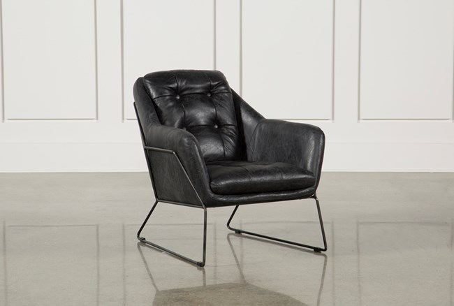 Ebony Leather & Metal Accent Chair - 360