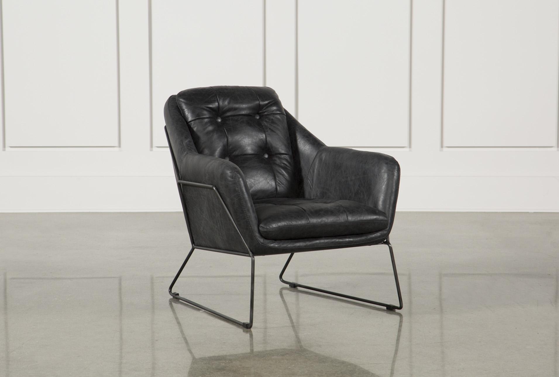 Ebony Leather U0026 Metal Accent Chair ...
