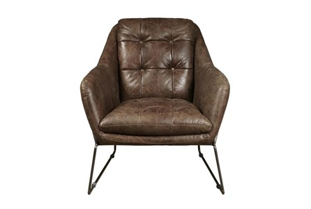 Mocha Leather & Metal Accent Chair