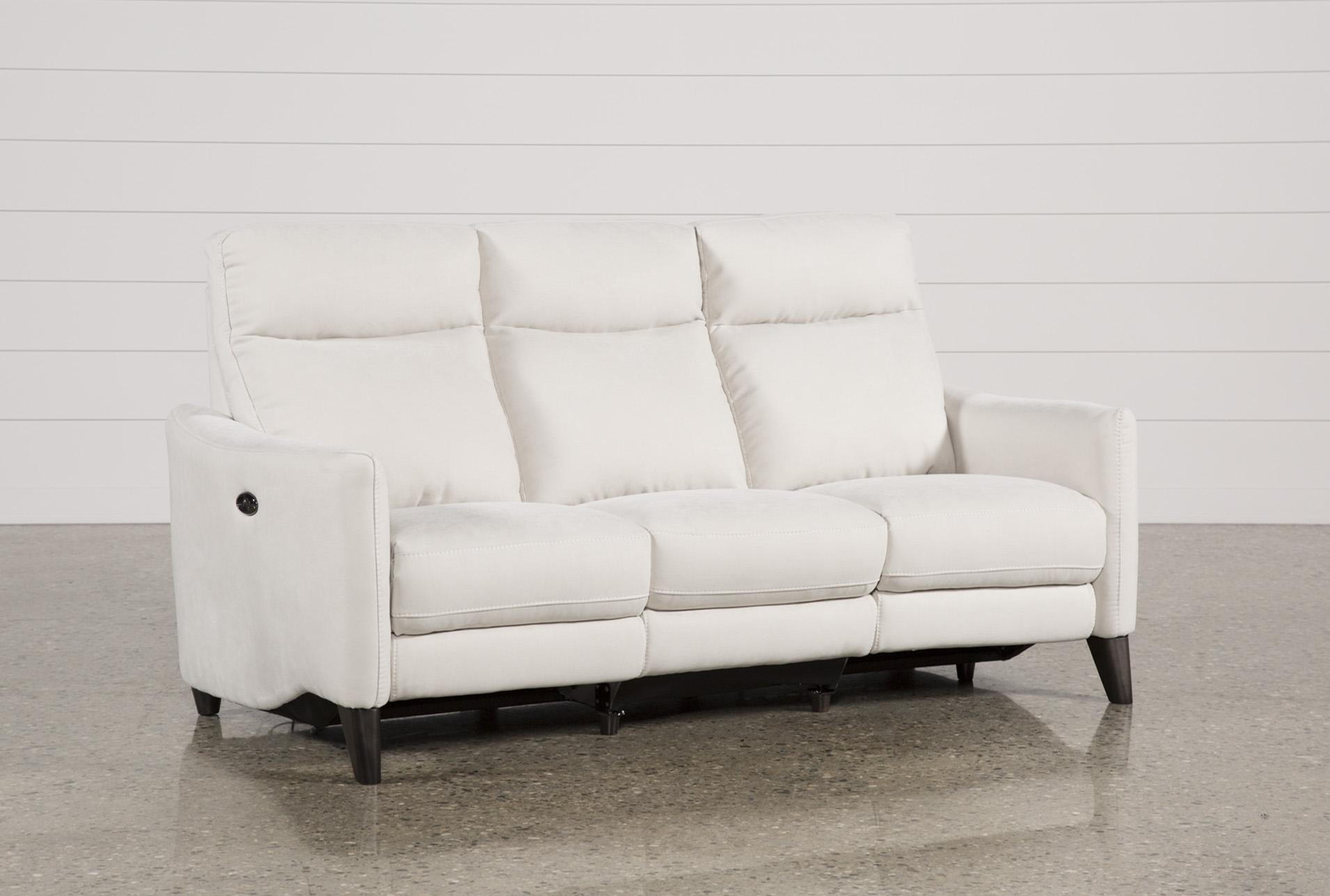 melina bisque power reclining sofa w usb living spaces rh livingspaces com fabric reclining sofa costco fabric reclining sofa with console