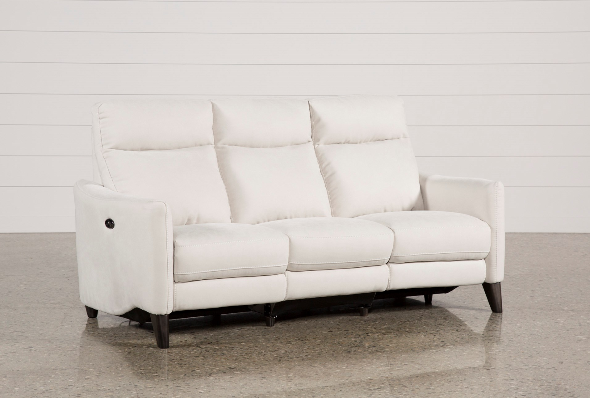 Melina Bisque Power Reclining Sofa W/Usb | Living Spaces