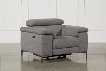 Talin Grey Power Recliner With USB