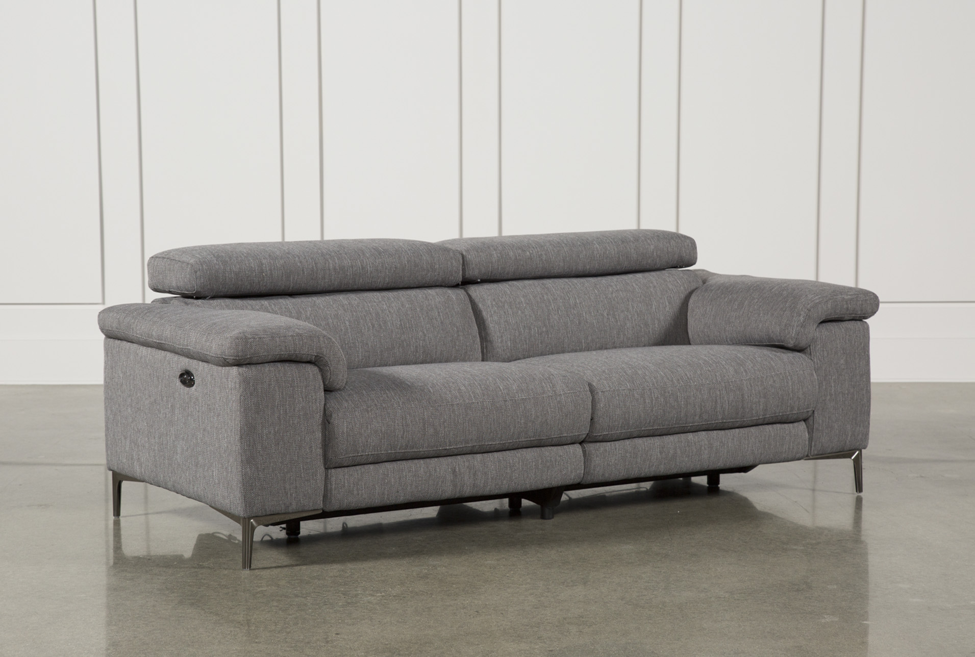 talin grey power reclining sofa w usb living spaces rh livingspaces com power recline sofa set power recline sofa and loveseat