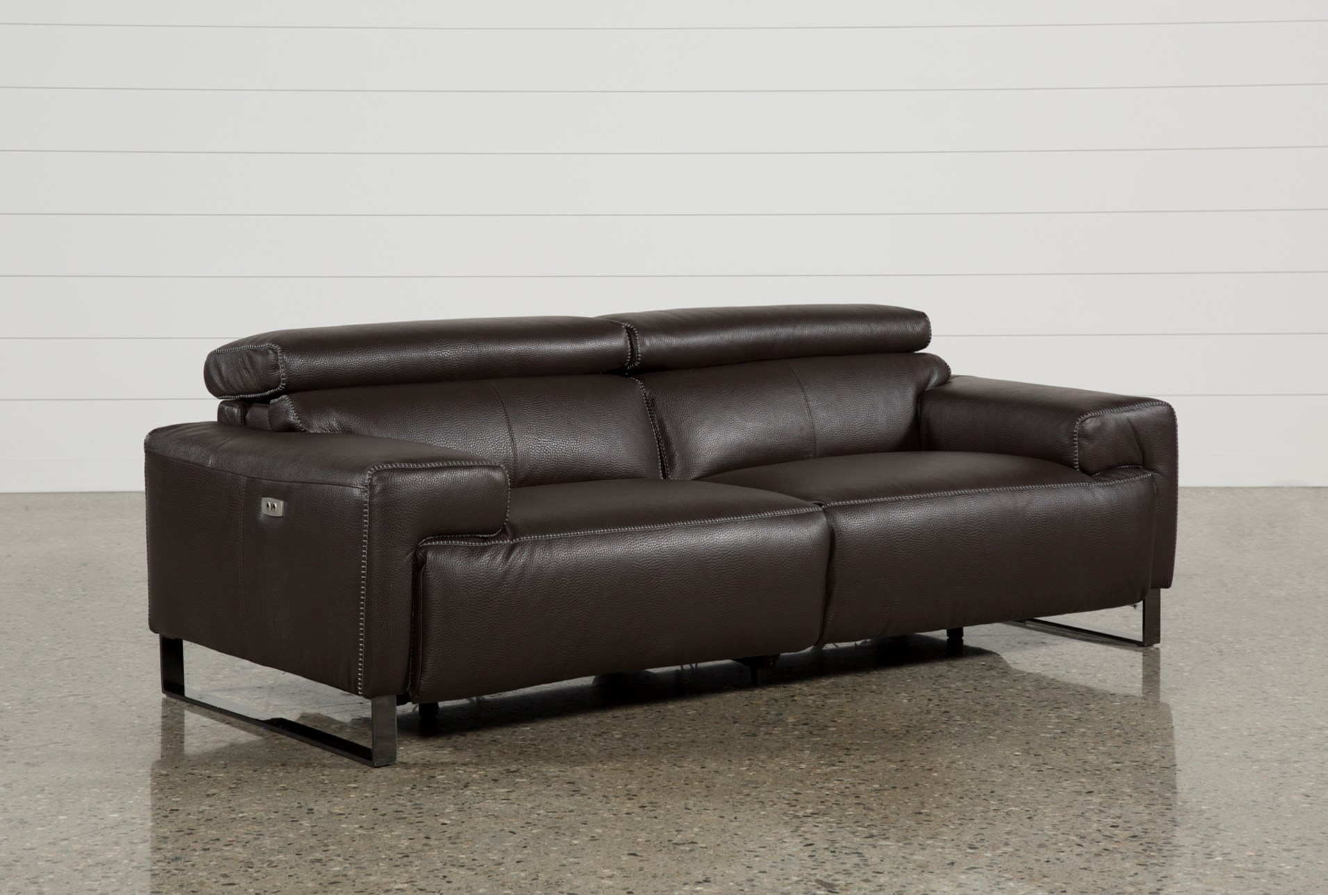 Carlo Leather Power Reclining Sofa W Usb Living Spaces ~ Best Place To Buy Reclining Sofa