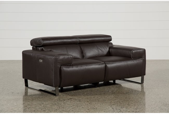 Carlo Leather Power Reclining Loveseat W Usb Living Spaces