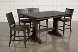 Valencia 4 Piece Counter Set W/Bench & Counterstool - Right