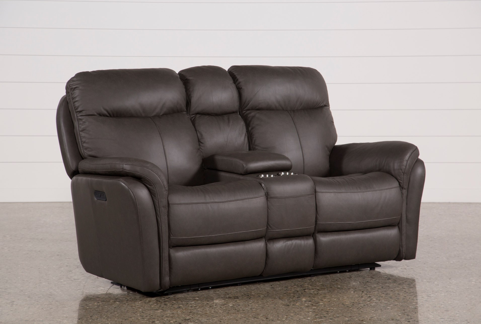 Bowie Leather Power Reclining Loveseat W/Console & Power Headrest ...