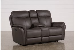 "Bowie Leather 75"" Power Reclining Loveseat With Console & Power Headrest"