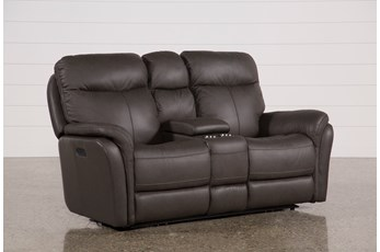 Bowie Leather Power Reclining Loveseat W/Console & Power Headrest