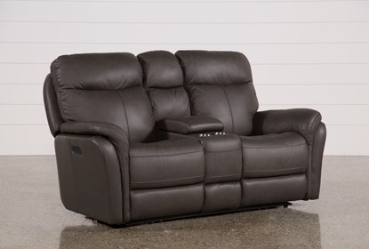 Surprising Bowie Leather Power Reclining Loveseat W Console Power Headrest Pdpeps Interior Chair Design Pdpepsorg