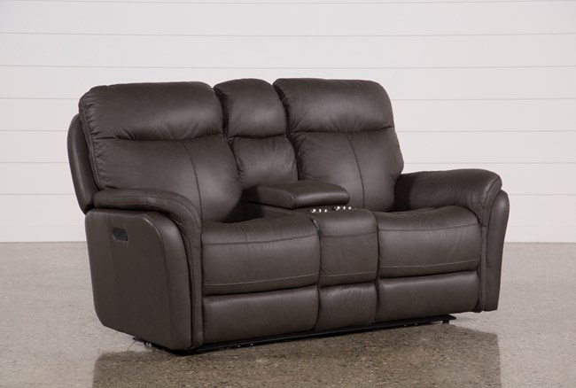 Bowie Leather Power Reclining Loveseat W/Console & Power