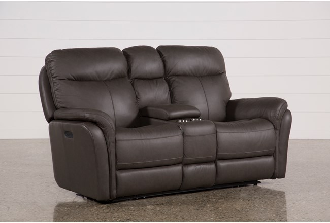 """Bowie Leather 75"""" Power Reclining Loveseat With Console & Power Headrest - 360"""