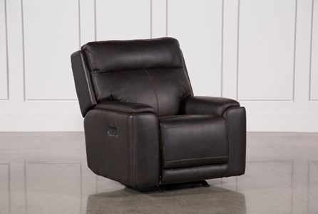 Sinjin Leather Power Gliding Recliner W/Power Headrest