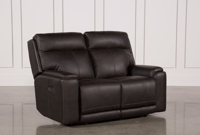 Sinjin Leather Power Reclining Loveseat W/Power Headrest - 360