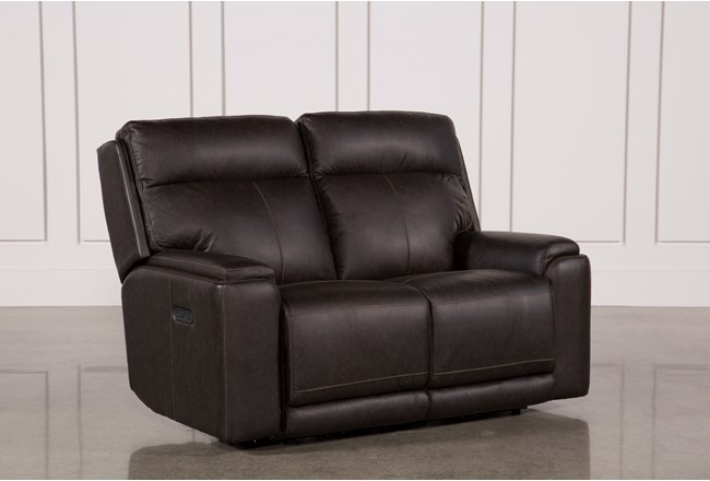 Sinjin Leather Power Reclining Loveseat W Power Headrest