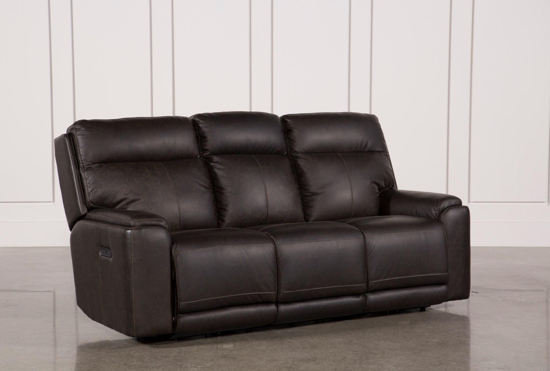 Sinjin Leather Power Reclining Sofa W Power Headrest Living Spaces ~ Red Leather Power Reclining Sofa