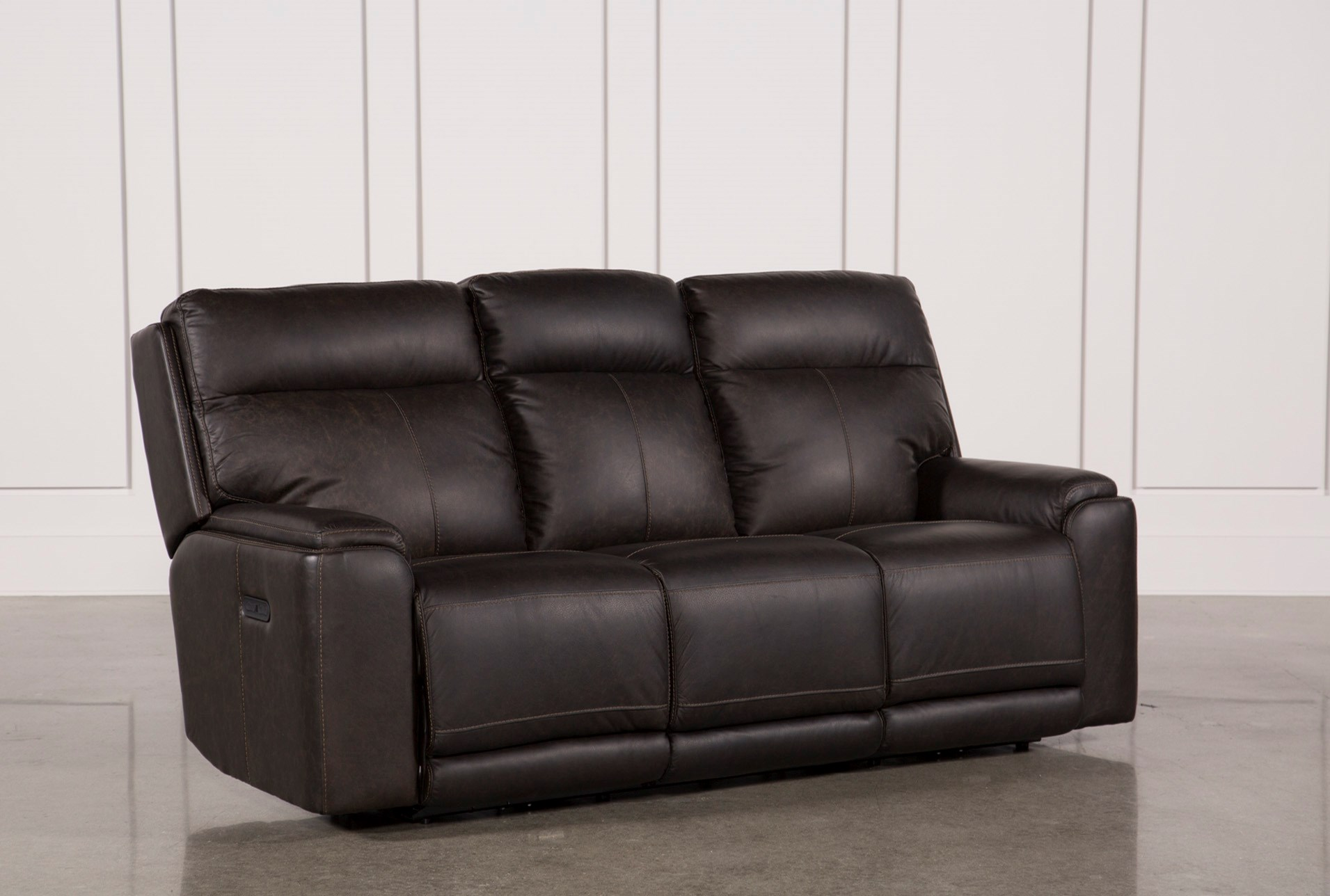 Bowie Leather Power Reclining Sofa W Power Headrest Living Spaces ~ Best Place To Buy Reclining Sofa