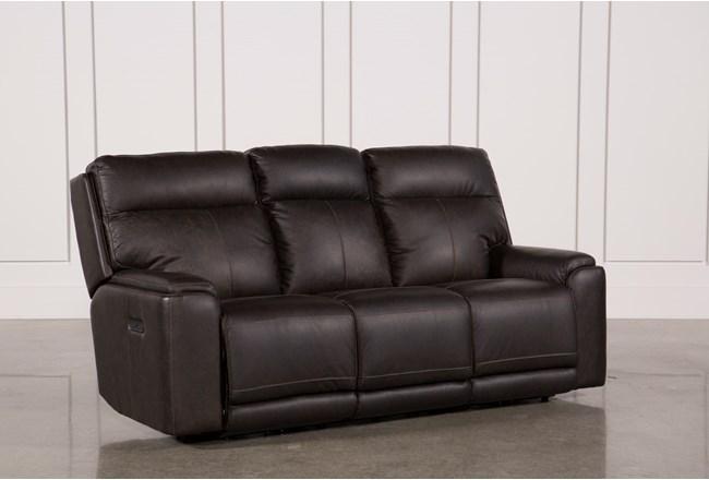 Sinjin Leather Reclining Sofa W Headrest 360