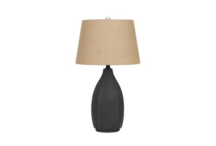 Table Lamp-Hammered Black Urn