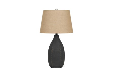 Table Lamp-Hammered Black Urn - Main