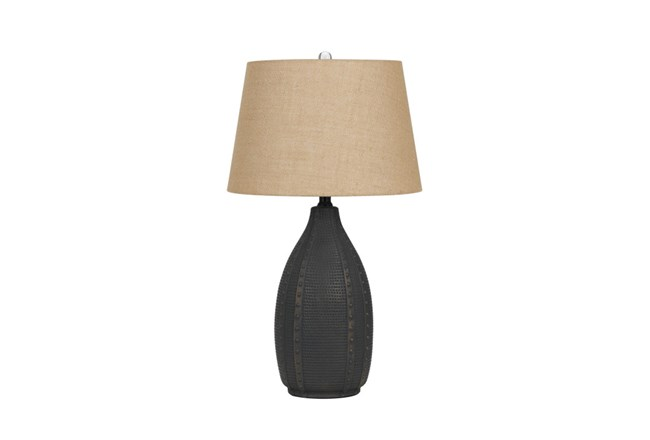 Table Lamp-Hammered Black Urn - 360