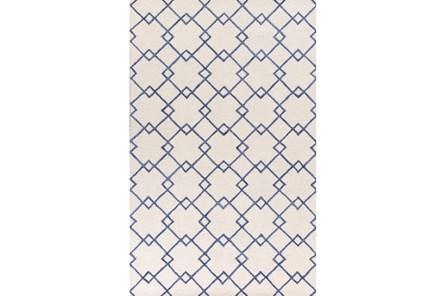 96X126 Rug-Diamond Trellis Blue - Main
