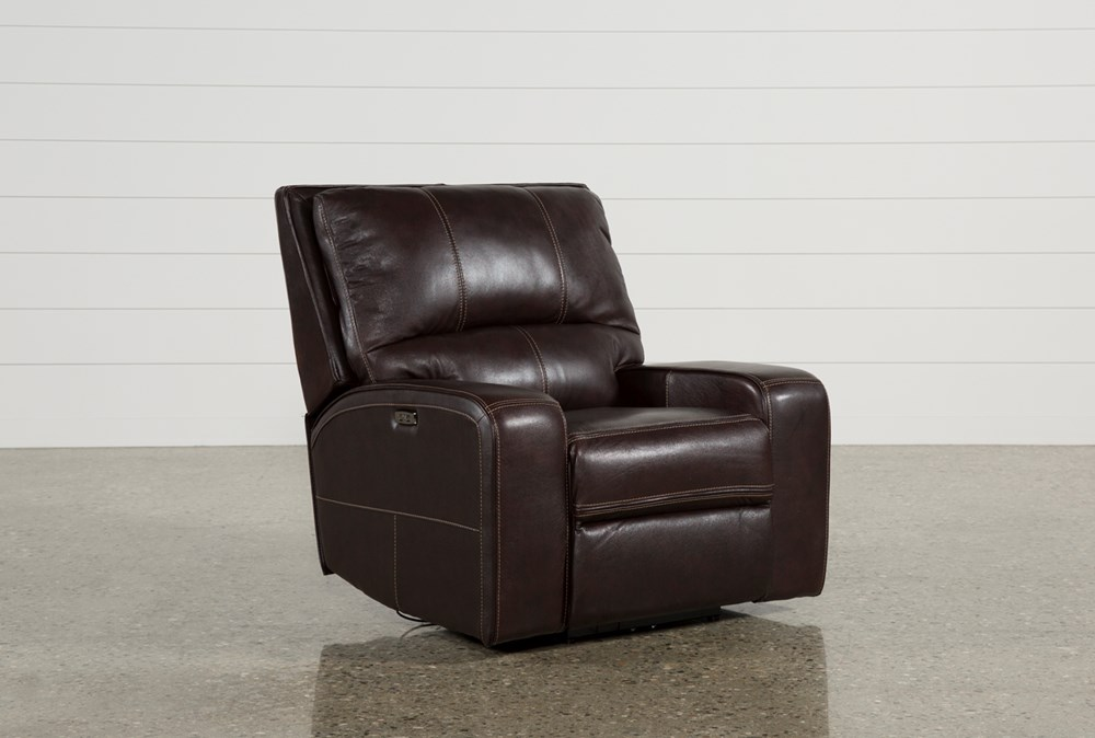 Clyde Dark Brown Leather Power Recliner W/Power Headrest & Usb