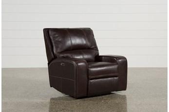 Clyde Dark Brown Leather Power Recliner W/Power Headrest & Usb