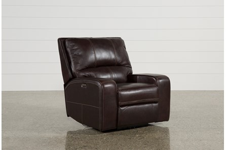 Clyde Dark Brown Leather Power Recliner W/Power Headrest & Usb - Main