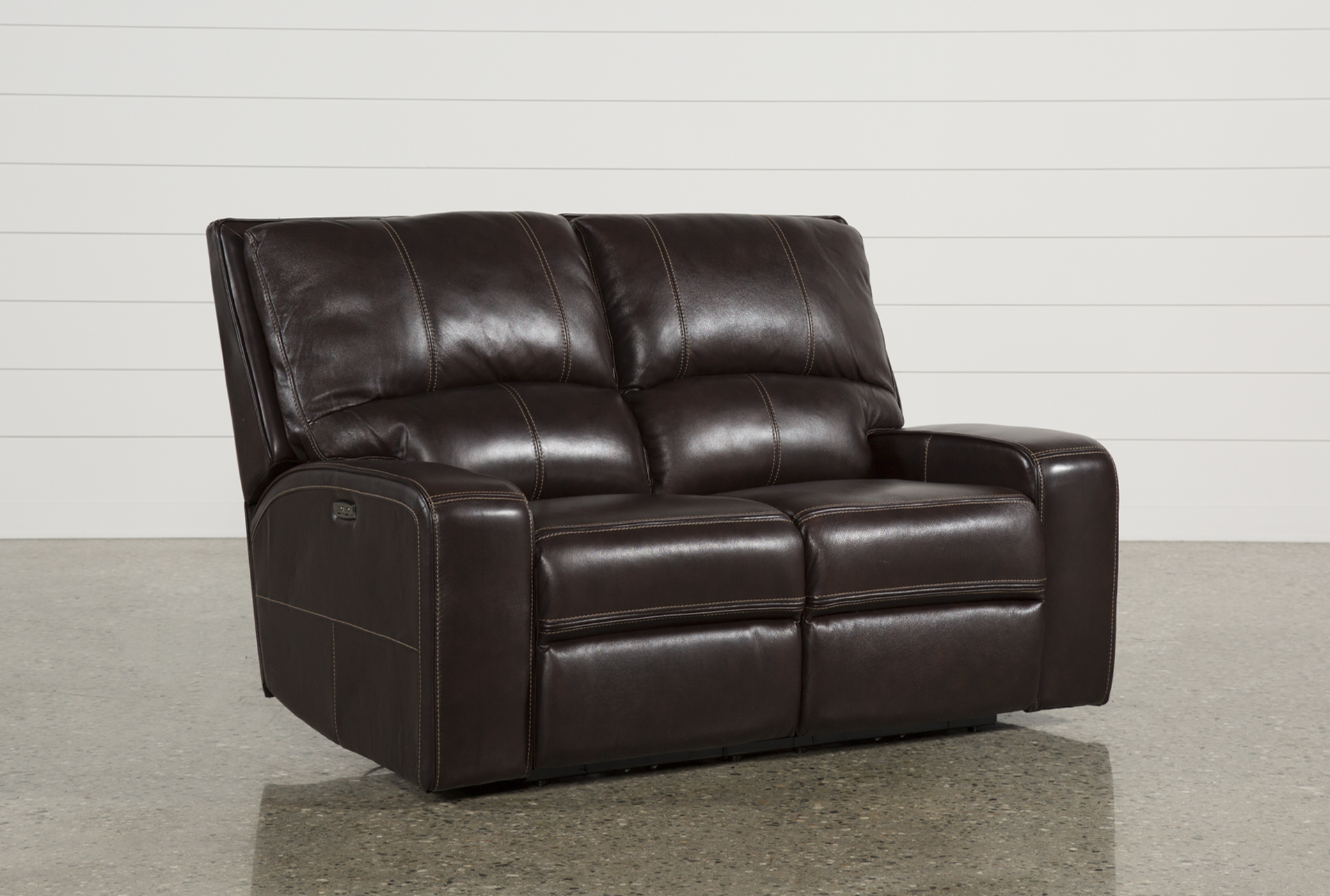 Clyde Dark Brown Leather 65 Power Reclining Loveseat W Power Headrest Usb Living Spaces