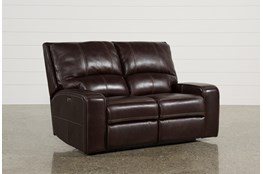 "Clyde Dark Brown Leather 65"" Power Reclining Loveseat W/Power Headrest & Usb"