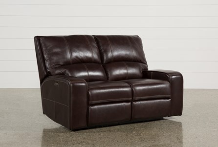 Clyde Dark Brown Leather Power Reclining Loveseat W/Power Headrest & Usb