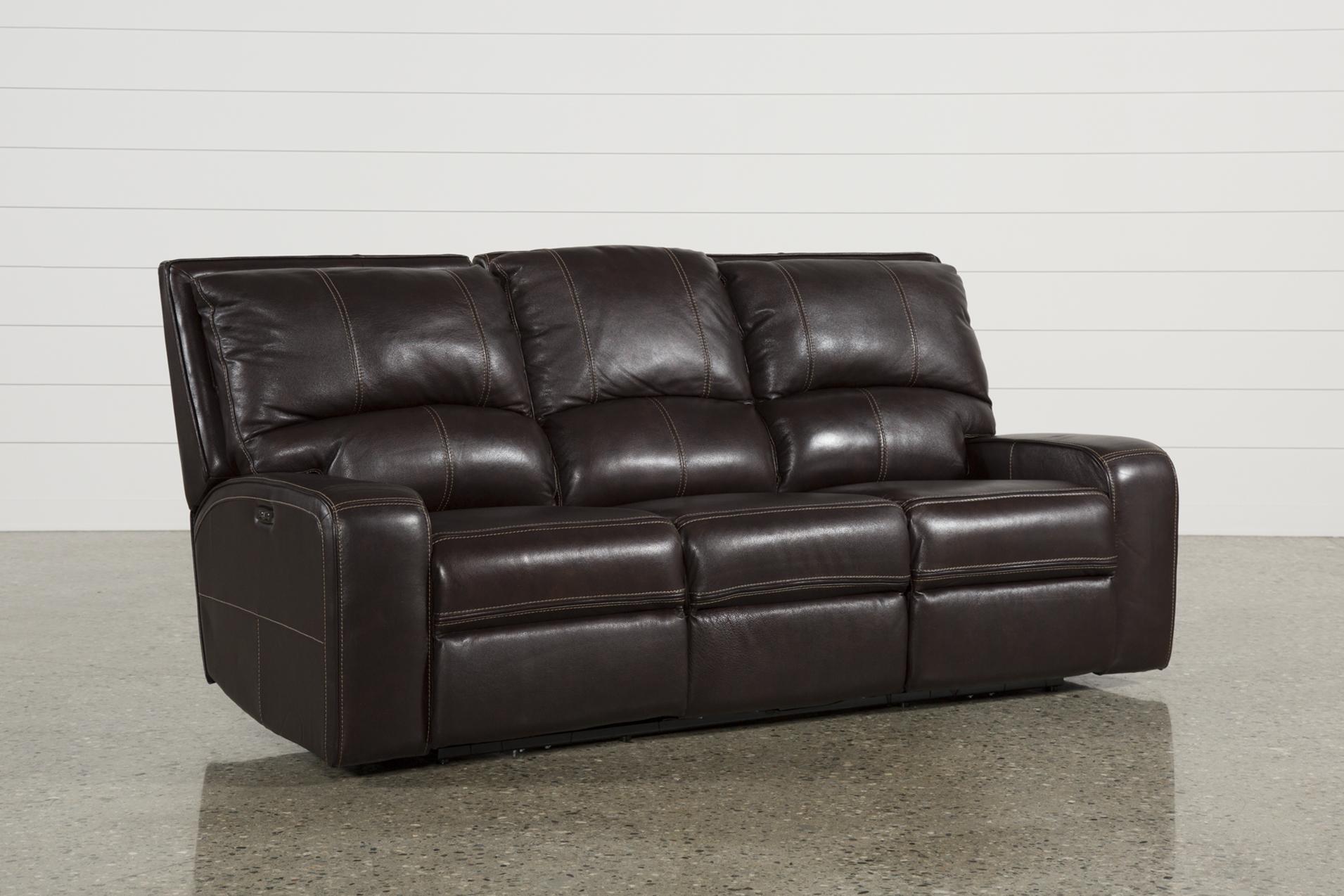 clyde dark brown leather power reclining sofa w power headrest usb rh livingspaces com brown leather reclining couch light brown leather reclining sofa