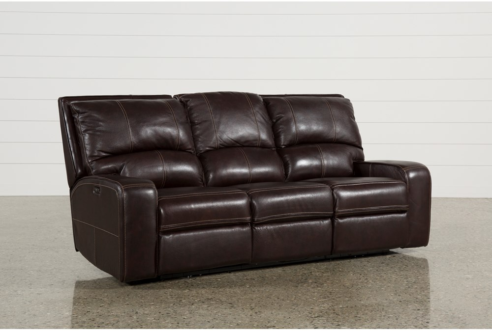 Clyde Dark Brown Leather Power Reclining Sofa W/Power Headrest & Usb