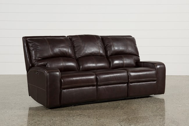 Clyde Dark Brown Leather Power Reclining Sofa W/Power Headrest & Usb - 360