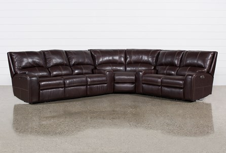 Clyde Dark Brown 3 Piece Power Reclining Sectional W/Pwr Hdt & Usb