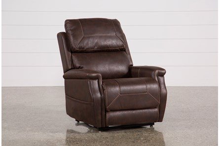 Buckley Walnut Power-Lift Recliner With Power Headrest