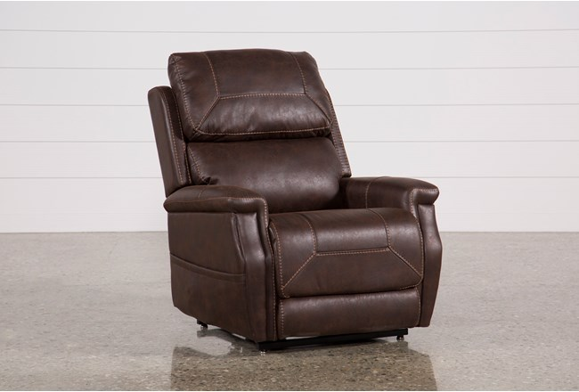 Buckley Walnut Power-Lift Recliner With Power Headrest - 360