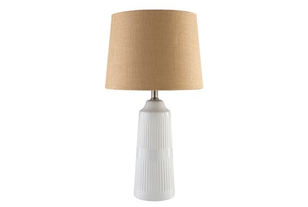 Table Lamp-White Glazed Ceramic Burlap Shade
