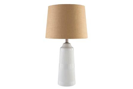 Table Lamp-White Glazed Ceramic Burlap Shade