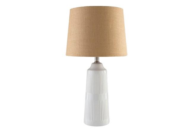 Table Lamp-White Glazed Ceramic Burlap Shade - 360